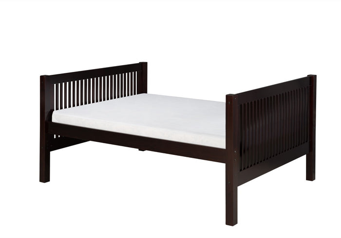 Camaflexi Full Size Platform Bed Tall - Mission Headboard - Cappuccino Finish - C1512_CP