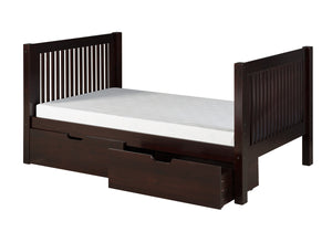 Camaflexi Full Size Platform Bed Tall with Drawers - Mission Headboard - Cappuccino Finish - C1512_DR-Platform Beds-HipBeds.com