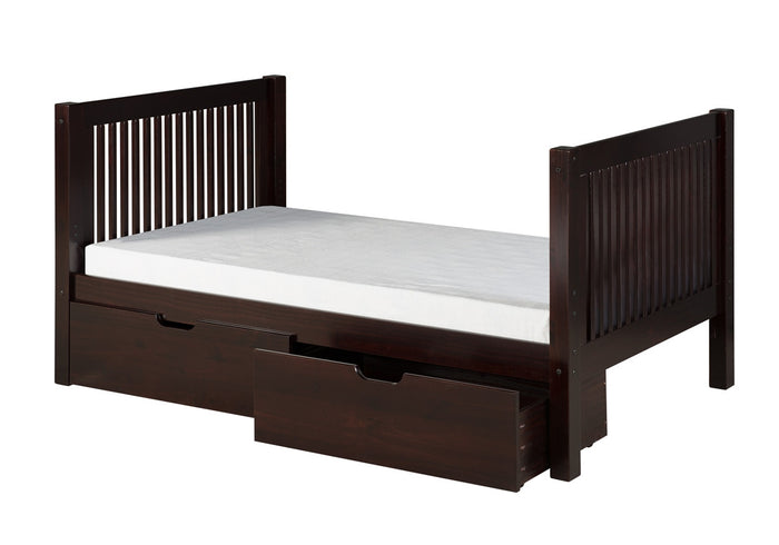 Camaflexi Full Size Platform Bed  Tall with Drawers - Mission Headboard - Cappuccino Finish - C1512_DR