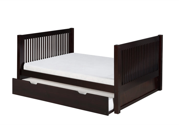 Camaflexi Full Size Platform Bed Tall with Twin Trundle - Mission Headboard - Cappuccino Finish - C1512_TR