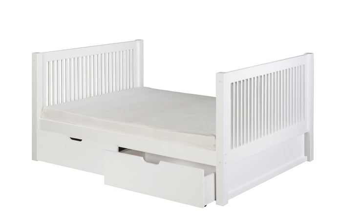 Camaflexi Full Size Platform Bed Tall with Drawers - Mission Headboard - White Finish - C1513_DR