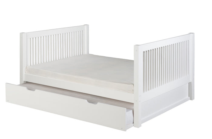 Camaflexi Full Size Platform Bed Tall with Twin Trundle - Mission Headboard - White Finish - C1513_TR