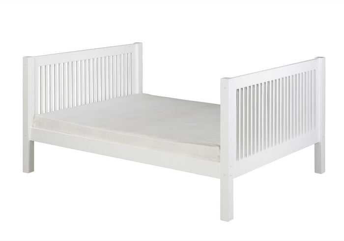 Camaflexi Full Size Platform Bed Tall - Mission Headboard - White Finish - C1513_WH
