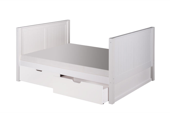 Camaflexi Full Size Platform Bed Tall with Drawers - Panel Headboard - White Finish - C1523_DR