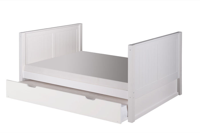 Camaflexi Full Size Platform Bed Tall with Twin Trundle - Panel Headboard - White Finish - C1523_TR