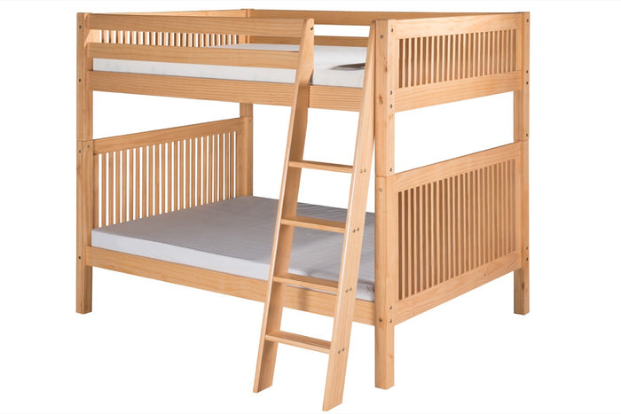 Camaflexi Full over Full Bunk Bed - Mission Headboard - Angle Ladder - Natural Finish  - C1611A_NT