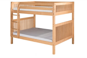 Camaflexi Full over Full Bunk Bed - Mission Headboard - Natural Finish - C1611_NT-Bunk Beds-HipBeds.com