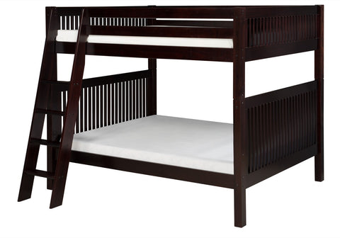 Camaflexi Full over Full Bunk Bed - Mission Headboard - Angle Ladder - Cappuccino Finish - C1612A_CP-Bunk Beds-HipBeds.com