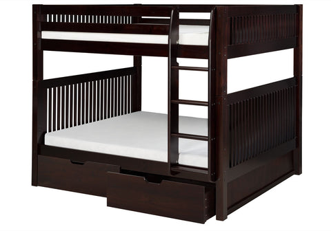 Camaflexi Full over Full Bunk Bed with Drawers - Mission Headboard - Cappuccino Finish - C1612_DR-Bunk Beds-HipBeds.com