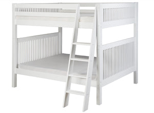 Camaflexi Full over Full Bunk Bed - Mission Headboard - Angle Ladder - White Finish - C1613A_WH-Bunk Beds-HipBeds.com