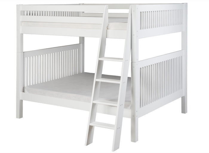Camaflexi Full over Full Bunk Bed - Mission Headboard - Angle Ladder - White Finish  - C1613A_WH