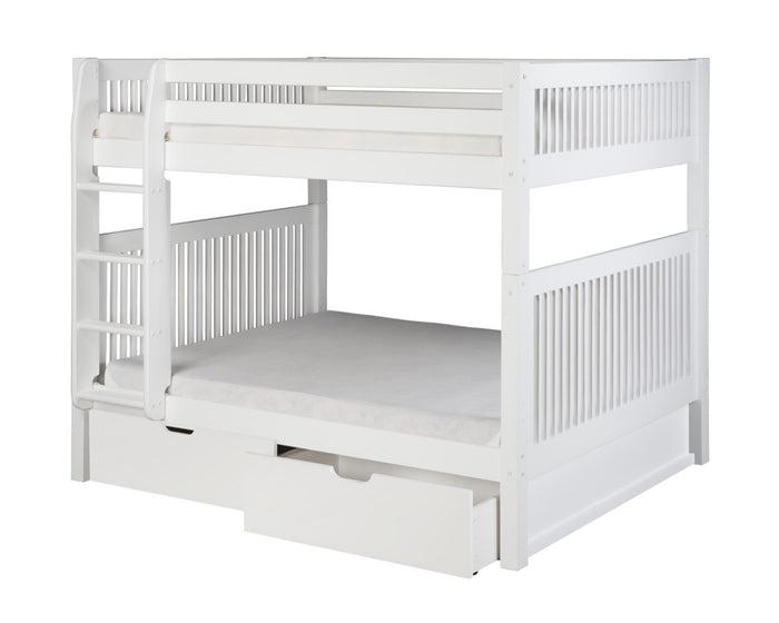 Camaflexi Full over Full Bunk Bed with Drawers - Mission Headboard - White Finish  - C1613_DR