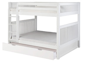 Camaflexi Full over Full Bunk Bed with Twin Trundle - Mission Headboard - White Finish - C1613_TR-Bunk Beds-HipBeds.com