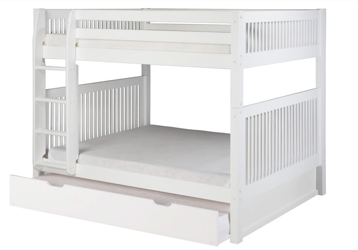 Camaflexi Full over Full Bunk Bed with Twin Trundle - Mission Headboard - White Finish  - C1613_TR