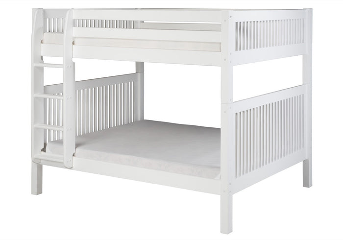 Camaflexi Full over Full Bunk Bed - Mission Headboard - White Finish  - C1613_WH
