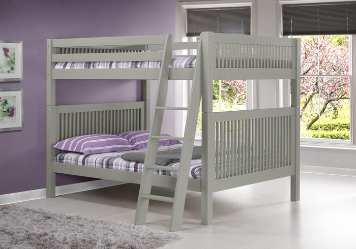 Camaflexi Full over Full Bunk Bed - Mission Headboard - Angle Ladder - Grey Finish  - C1614A_GY