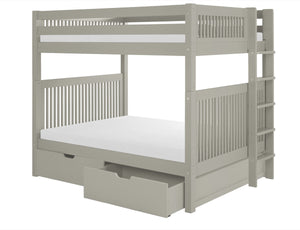 Camaflexi Full over Full Bunk Bed with Drawers - Mission Headboard - Bed End Ladder - Grey Finish - C1614L_DR-Bunk Beds-HipBeds.com