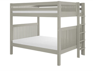 Camaflexi Full over Full Bunk Bed - Mission Headboard - Bed End Ladder - Grey Finish - C1614L_GY-Bunk Beds-HipBeds.com