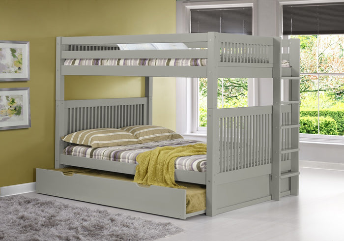 Camaflexi Full over Full Bunk Bed with Trundle - Mission Headboard - Bed End Ladder - Grey Finish  - C1614L_TR