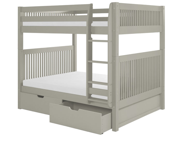 Camaflexi Full over Full Bunk Bed with Drawers - Mission Headboard - Grey Finish  - C1614_DR