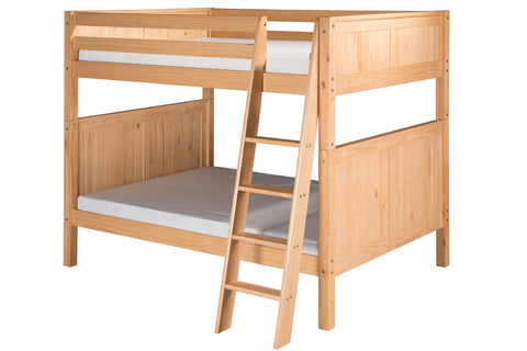 Camaflexi Full over Full Bunk Bed - Panel Headboard - Angle Ladder - Natural Finish - C1621A_NT-Bunk Beds-HipBeds.com