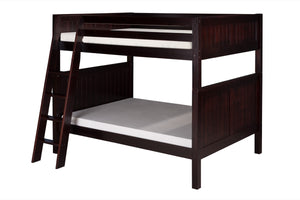 Camaflexi Full over Full Bunk Bed - Panel Headboard - Angle Ladder - Cappuccino Finish - C1622A_CP-Bunk Beds-HipBeds.com