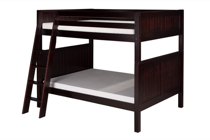 Camaflexi Full over Full Bunk Bed - Panel Headboard - Angle Ladder - Cappuccino Finish  - C1622A_CP