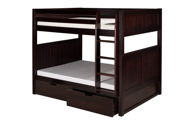 Camaflexi Full over Full Bunk Bed with Drawers - Panel Headboard - Cappuccino Finish  - C1622_DR