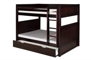 Camaflexi Full over Full Bunk Bed with Twin Trundle - Panel Headboard - Cappuccino Finish - C1622_TR-Bunk Beds-HipBeds.com