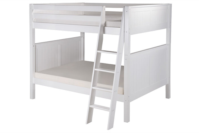 Camaflexi Full over Full Bunk Bed - Panel Headboard - Angle Ladder - White Finish  - C1623A_WH