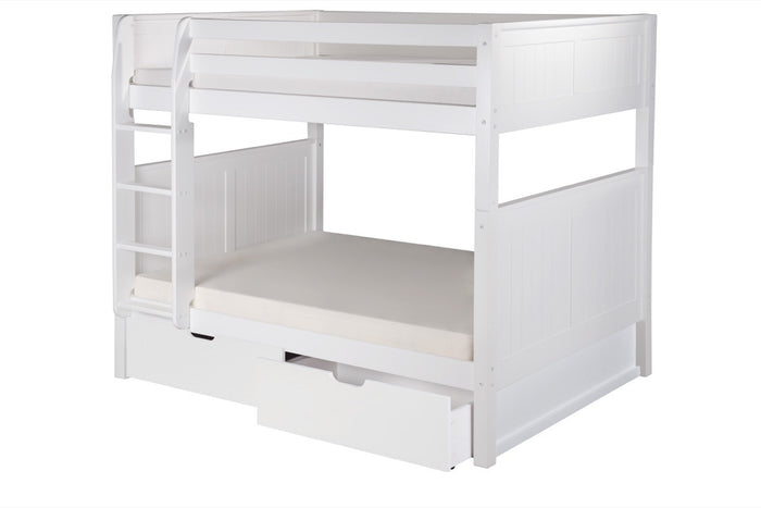 Camaflexi Full over Full Bunk Bed with Drawers - Panel Headboard - White Finish  - C1623_DR