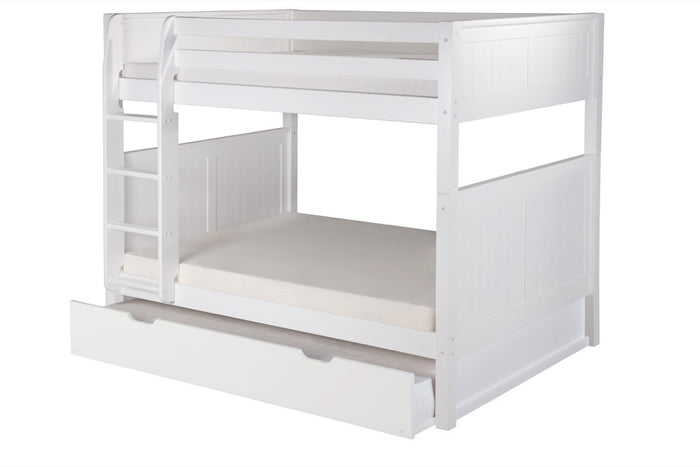 Camaflexi Full over Full Bunk Bed with Twin Trundle - Panel Headboard - White Finish  - C1623_TR