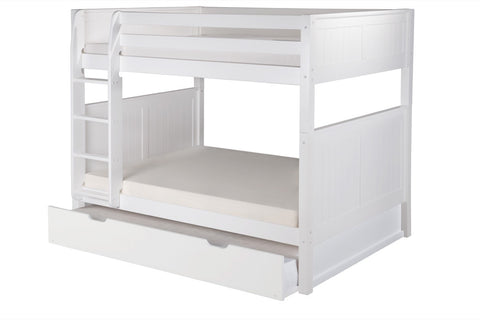 Camaflexi Full over Full Bunk Bed with Twin Trundle - Panel Headboard - White Finish - C1623_TR-Bunk Beds-HipBeds.com