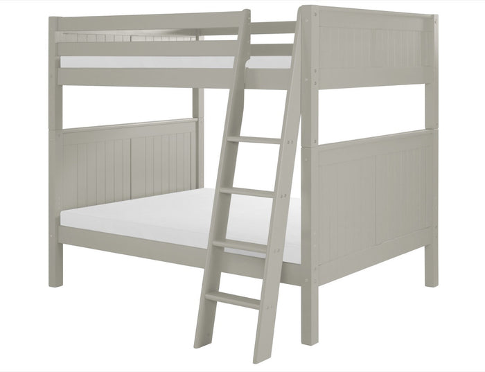Camaflexi Full over Full Bunk Bed - Panel Headboard - Angle Ladder - Grey Finish  - C1624A_GY
