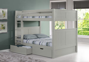 Camaflexi Full over Full Bunk Bed with Drawers - Panel Headboard - Grey Finish - C1624_DR-Bunk Beds-HipBeds.com