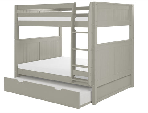 Camaflexi Full over Full Bunk Bed with Twin Trundle - Panel Headboard - Grey Finish - C1624_TR-Bunk Beds-HipBeds.com