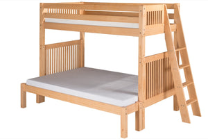 Camaflexi Twin over Full Bunk Bed with Twin Trundle - Mission Headboard - Lateral Angle Ladder - Natural Finish - C1711L_TR-Bunk Beds-HipBeds.com