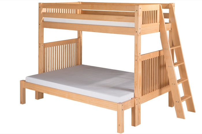 Camaflexi Twin over Full Bunk Bed  with Twin Trundle - Mission Headboard - Lateral Angle Ladder - Natural Finish  - C1711L_TR