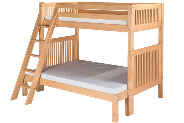 Camaflexi Twin over Full Bunk Bed - Mission Headboard - Angle Ladder - Natural Finish - C1711_NT