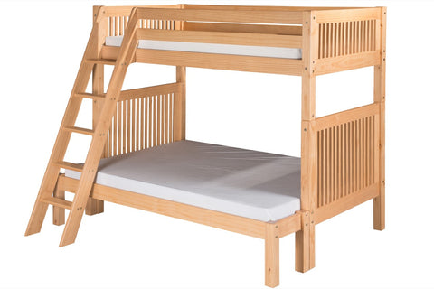 Camaflexi Twin over Full Bunk Bed - Mission Headboard - Angle Ladder - Natural Finish - C1711_NT-Bunk Beds-HipBeds.com