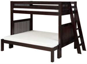 Camaflexi Twin over Full Bunk Bed - Mission Headboard - Lateral Angle Ladder - Cappuccino Finish - C1712L_CP-Bunk Beds-HipBeds.com