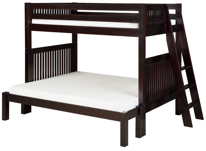 Camaflexi Twin over Full Bunk Bed - Mission Headboard - Lateral Angle Ladder - Cappuccino Finish  - C1712L_CP