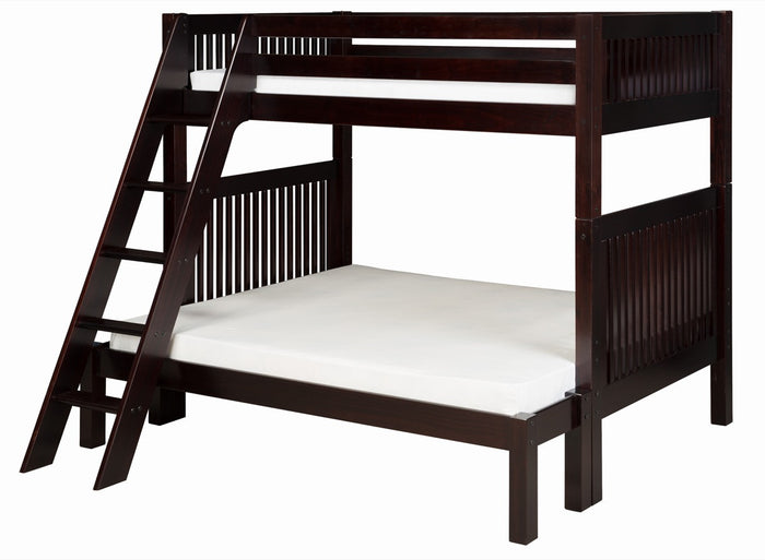 Camaflexi Twin over Full Bunk Bed - Mission Headboard - Angle Ladder - Cappuccino Finish - C1712_CP