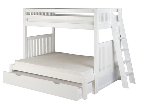 Camaflexi Twin over Full Bunk Bed with Twin Trundle - Mission Headboard - Lateral Angle Ladder - White Finish - C1713L_TR-Bunk Beds-HipBeds.com