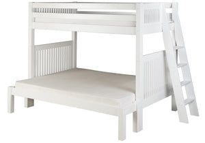Camaflexi Twin over Full Bunk Bed - Mission Headboard - Lateral Angle Ladder - White Finish - C1713L_WH-Bunk Beds-HipBeds.com