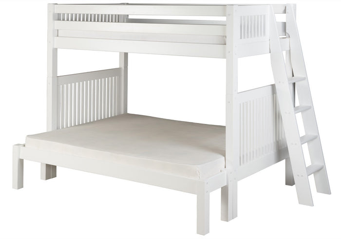 Camaflexi Twin over Full Bunk Bed - Mission Headboard - Lateral Angle Ladder - White Finish  - C1713L_WH