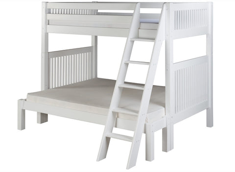 Camaflexi Twin over Full Bunk Bed - Mission Headboard - Angle Ladder - White Finish - C1713_WH-Bunk Beds-HipBeds.com