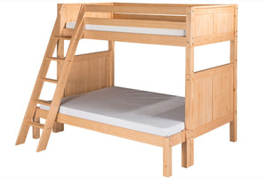 Camaflexi Twin over Full Bunk Bed - Panel Headboard - Angle Ladder - Natural Finish - C1721_NT-Bunk Beds-HipBeds.com