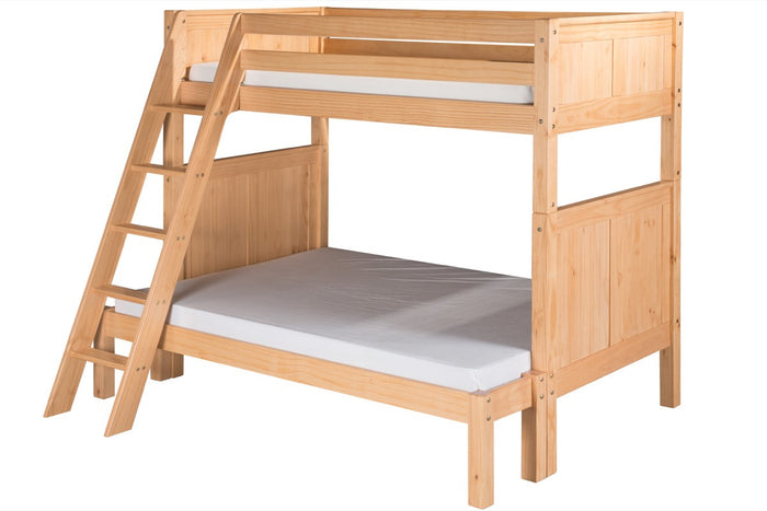 Camaflexi Twin over Full Bunk Bed - Panel Headboard - Angle Ladder - Natural Finish - C1721_NT