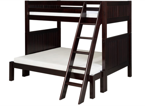 Camaflexi Twin over Full Bunk Bed - Panel Headboard - Angle Ladder - Cappuccino Finish - C1722_CP-Bunk Beds-HipBeds.com